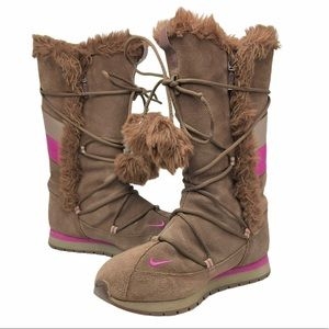 Nike Suede Brown/Pink Pom Pom Winter Boots